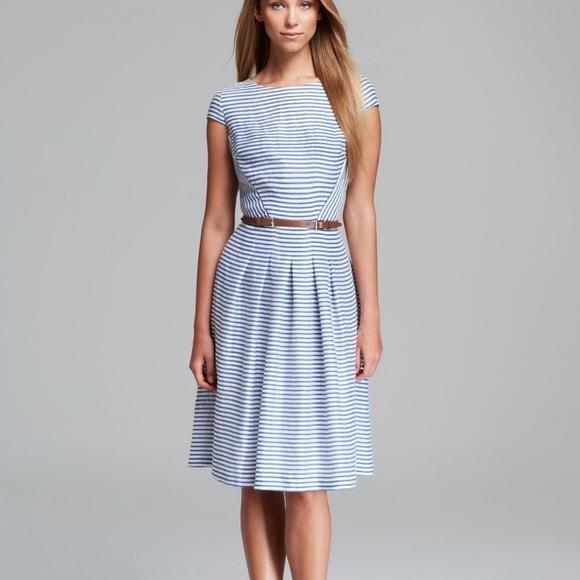 Anne Klein Dresses Blue And White Striped Dress Poshmark